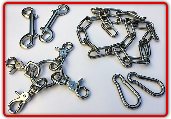 A range of stainless steel connectors and chain for use with your RED restraints, slings and frames